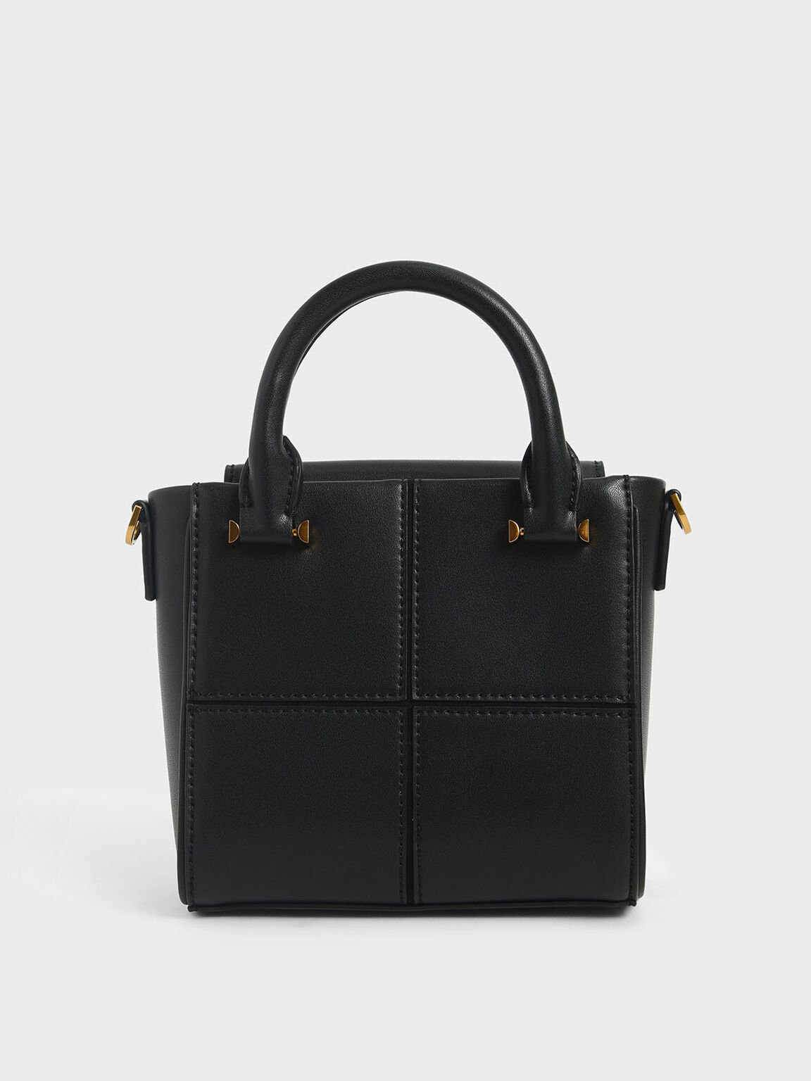Textured Panelled Top Handle Bag, Black, hi-res