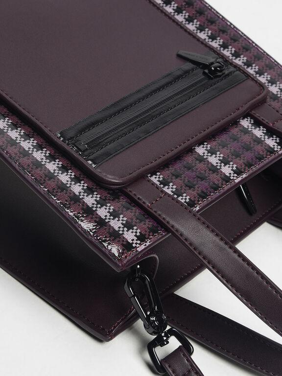 Furry Panel Tote Bag, Purple, hi-res