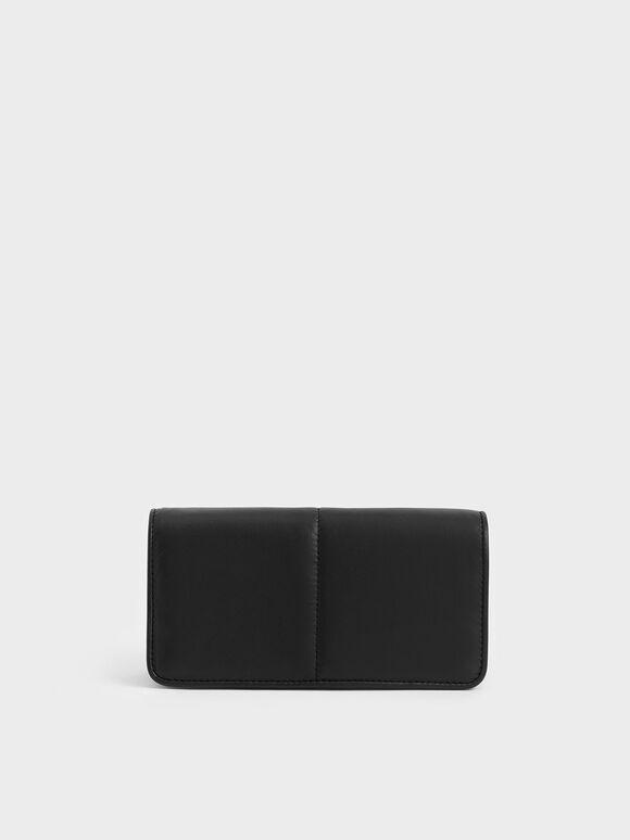 Stitch Trim Mini Long Wallet, Black, hi-res