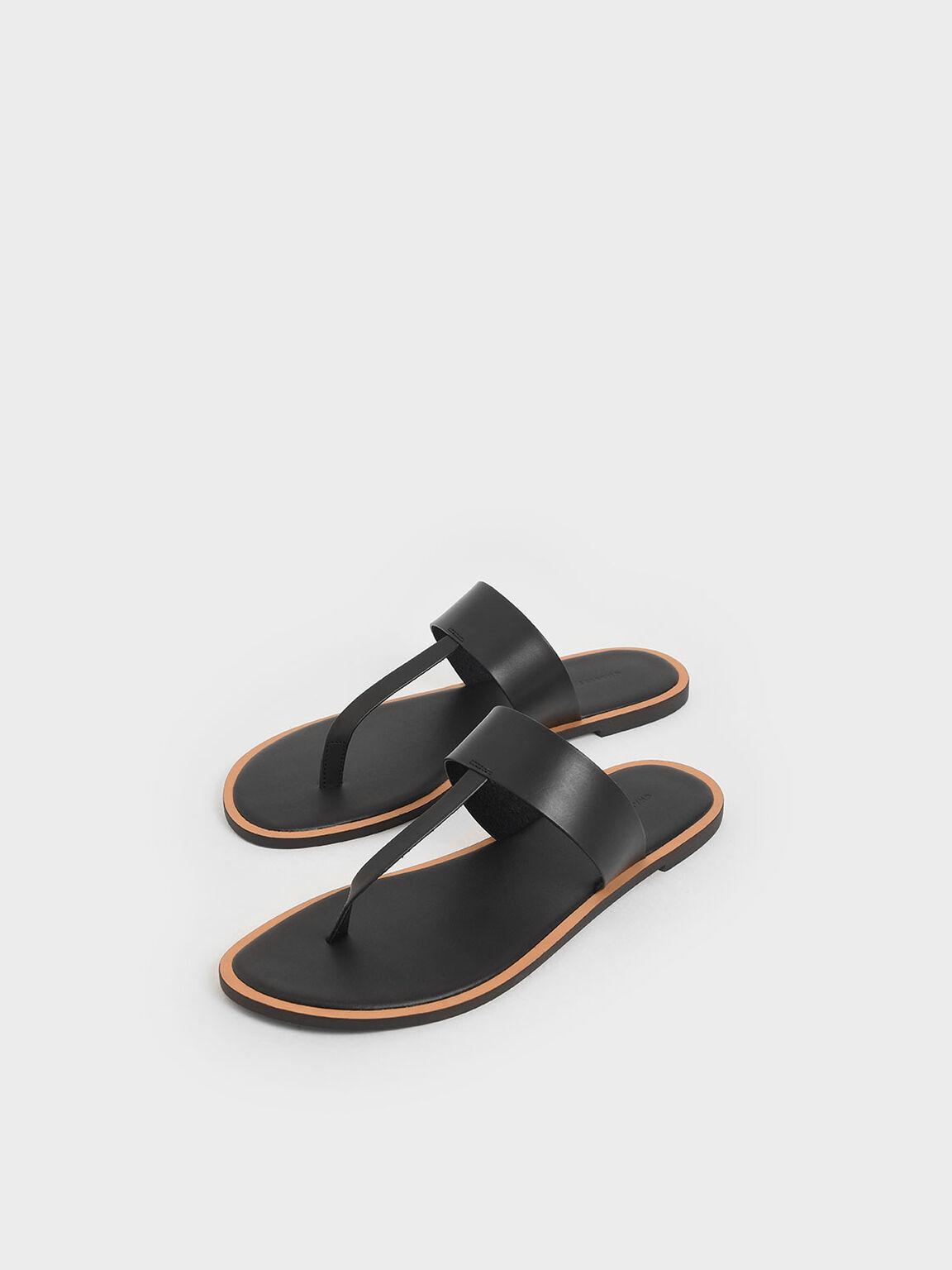 T-Bar Slide Sandals, Black, hi-res