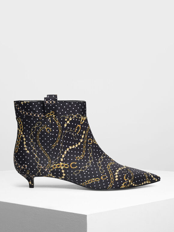 Pointed Kitten Heel Boots, Multi, hi-res