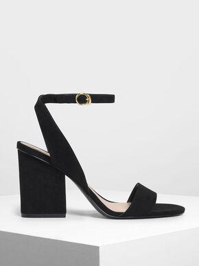 Ankle Strap Block Heel Sandals, Black