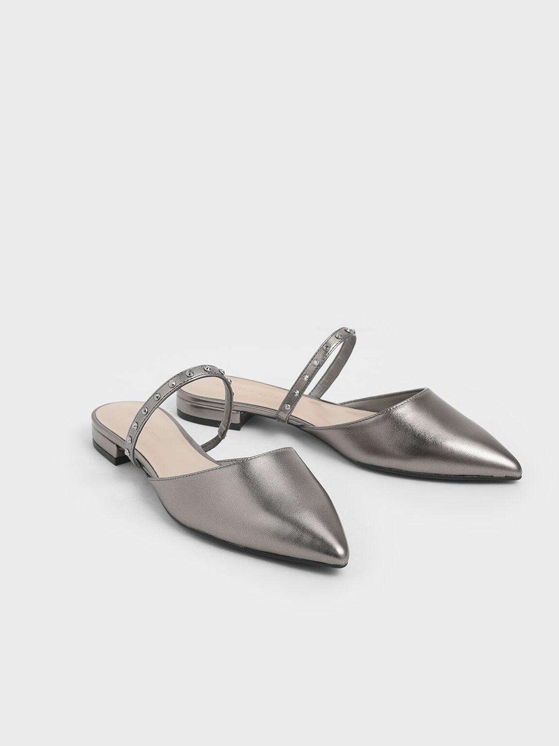 Metallic Embellished Strap Flats, Pewter, hi-res