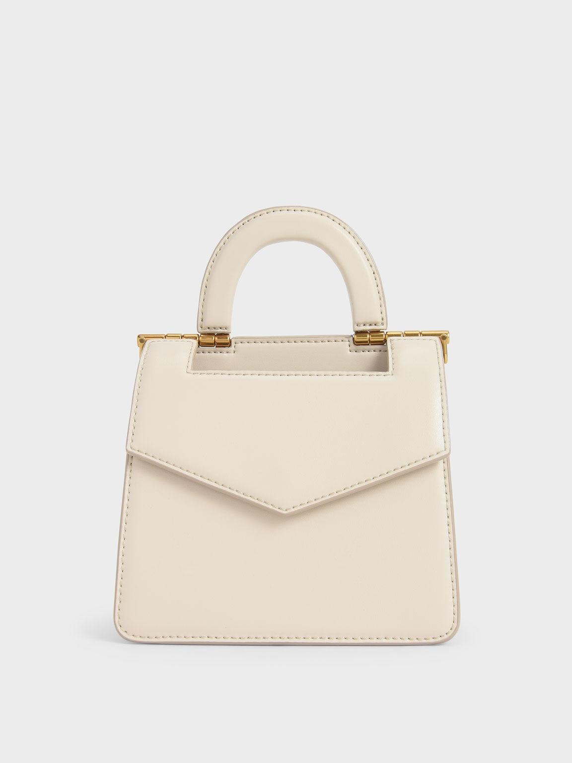 Top Handle Envelope Bag, Cream, hi-res