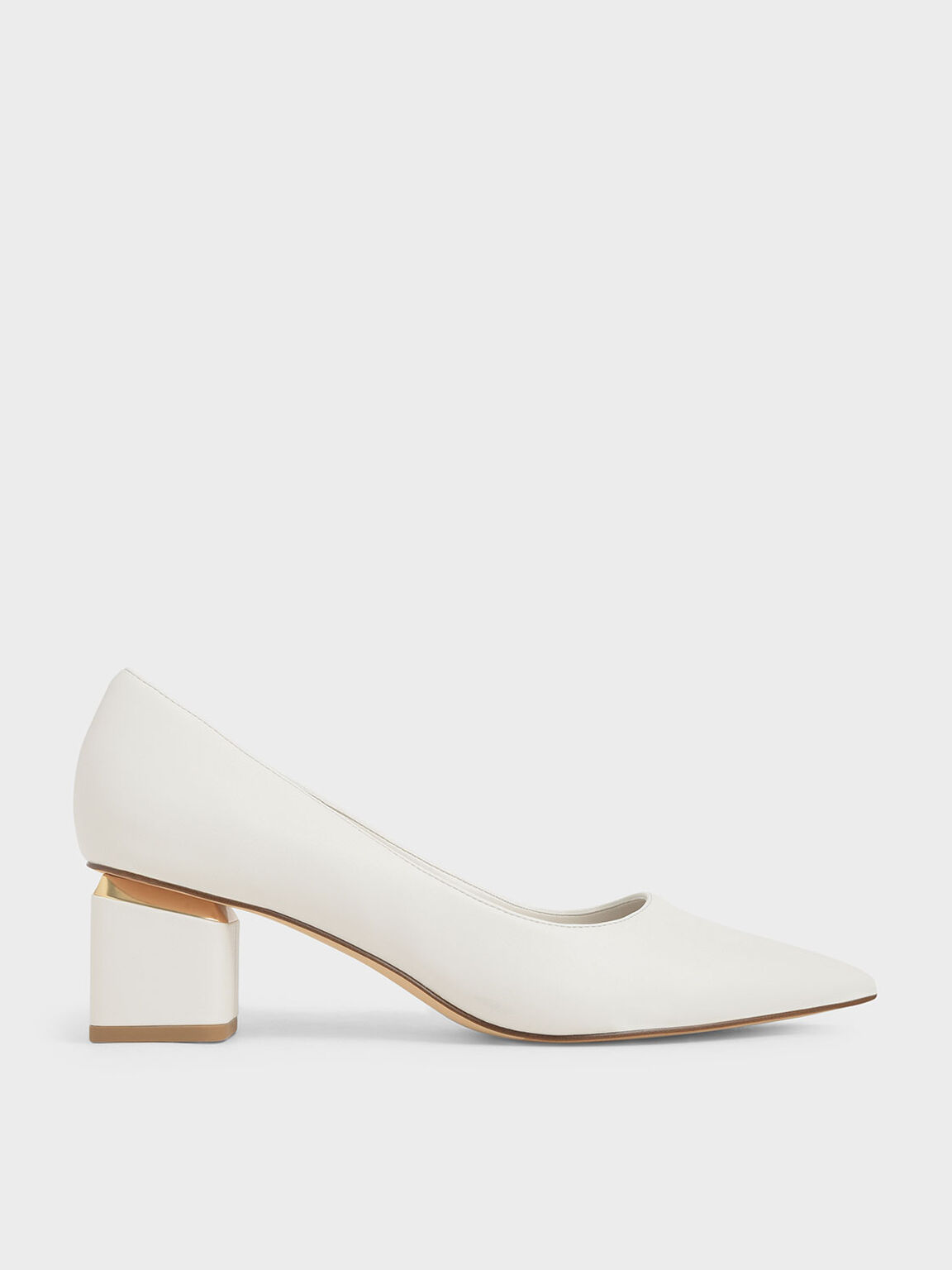 Metal Accented Pointed Toe Pumps, Chalk, hi-res