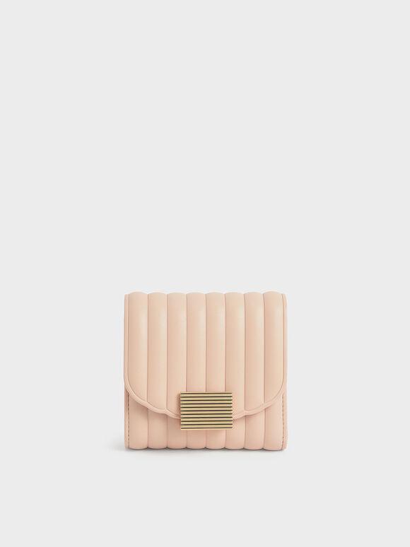 Panelled Short Wallet, Light Pink, hi-res