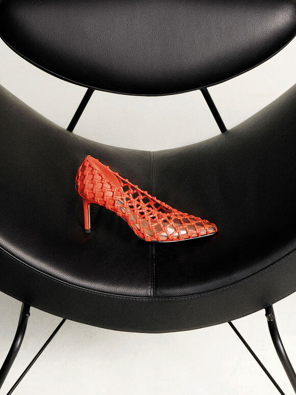 Woven Caged Pumps, Orange, hi-res