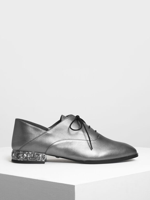 Faceted Lucite Heel Leather Oxfords, Pewter, hi-res