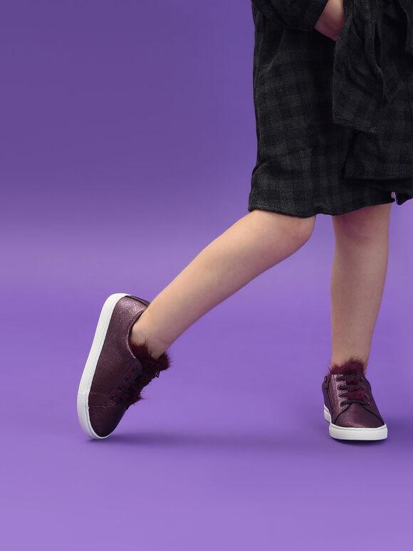 Kids Metallic Sneakers, Purple, hi-res