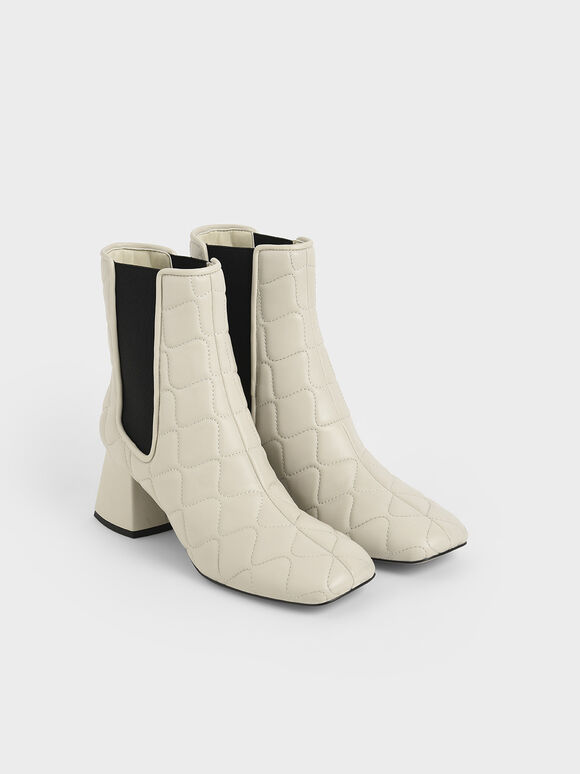 Quilted Leather Chelsea Boots, Chalk, hi-res