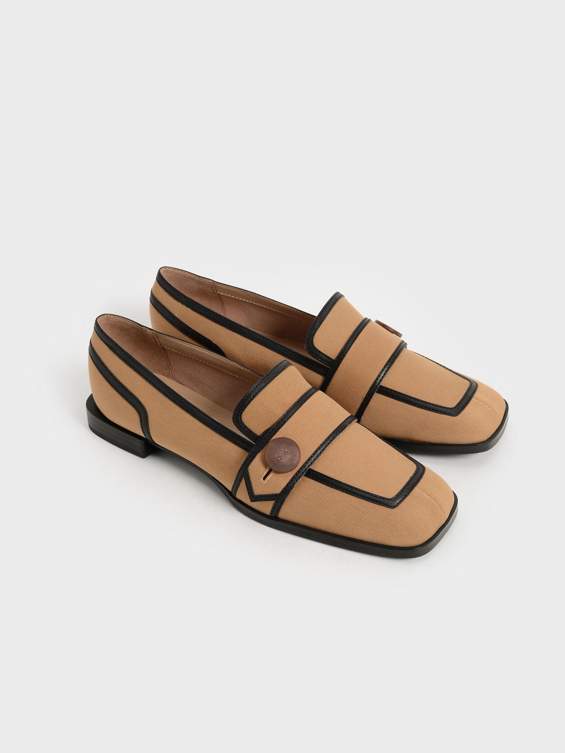 Button-Embellished Twill Loafers, Camel, hi-res