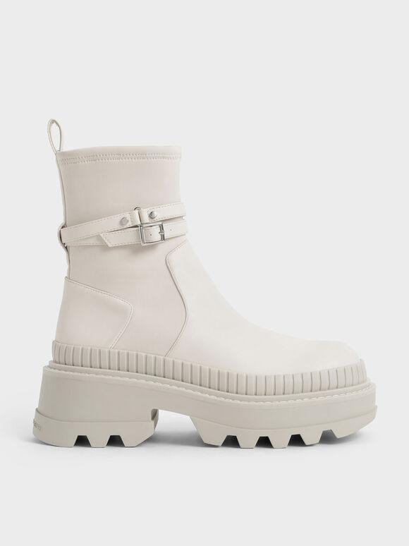 拼接厚底短靴, 石灰白, hi-res