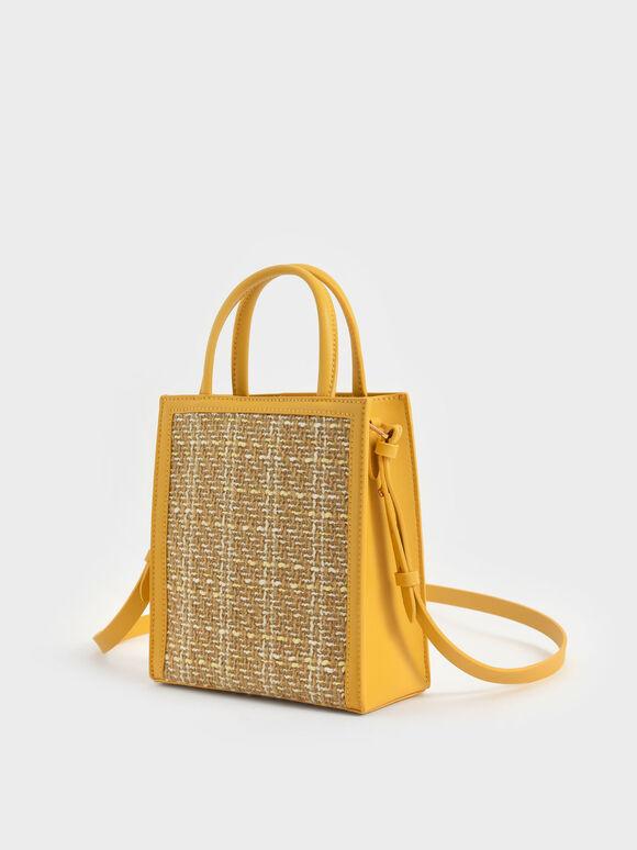 Woven Tweed Tote Bag, Yellow, hi-res