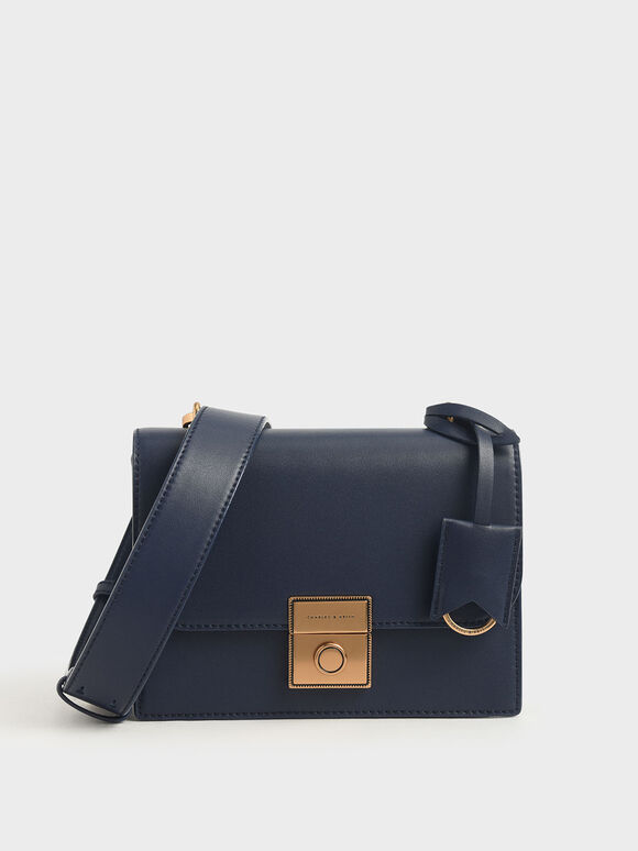 Boxy Push Lock Crossbody Bag, Dark Blue, hi-res