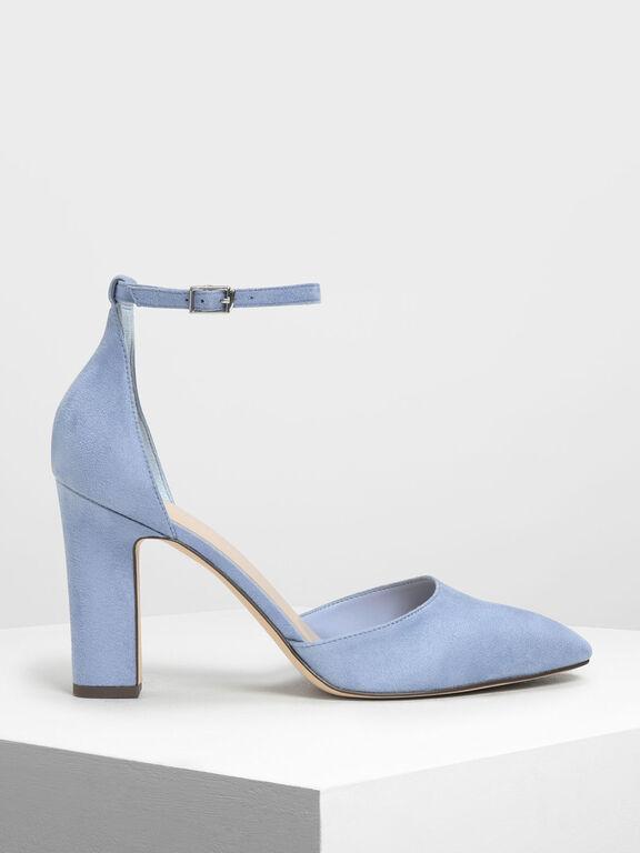 D'Orsay Ankle Strap Pumps, Light Blue