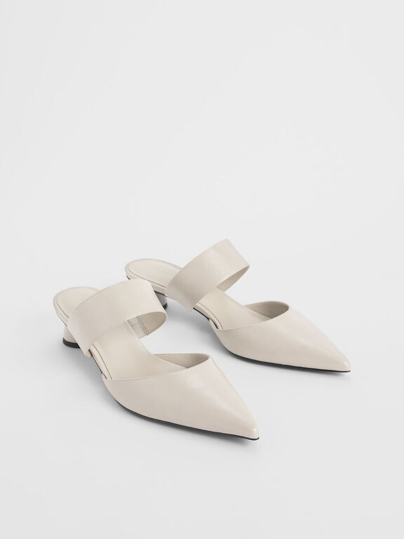 Thick Strap Cylindrical Heel Mules, Cream