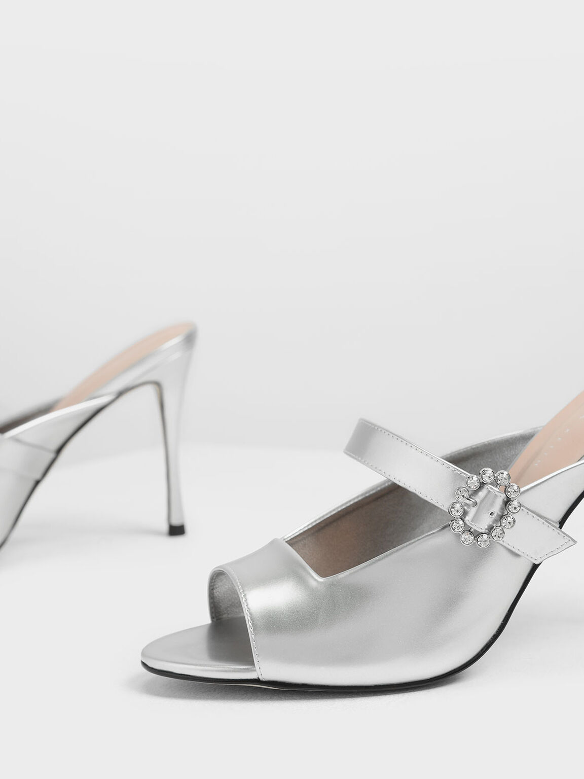 Embellished Buckle Metallic Heels, Silver, hi-res
