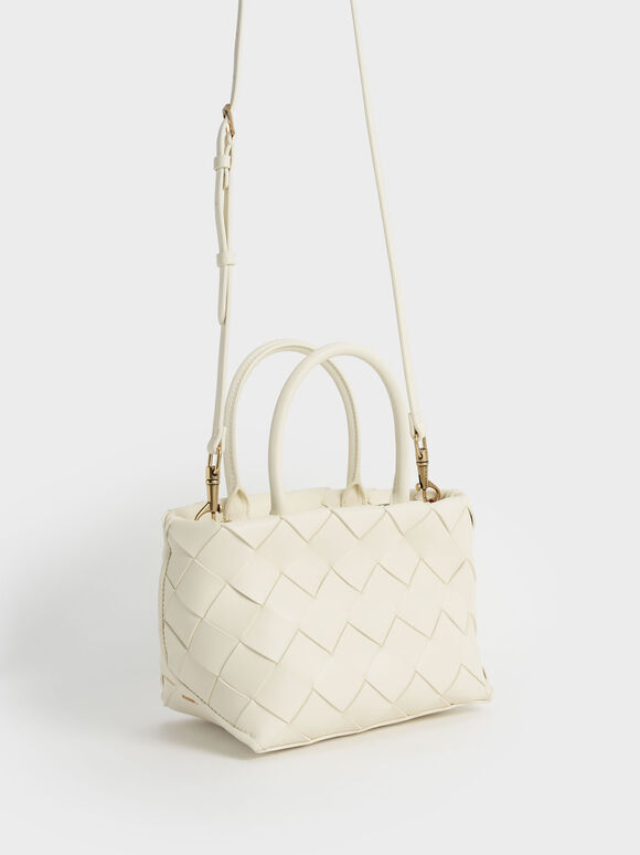 Woven Tote Bag, Cream, hi-res