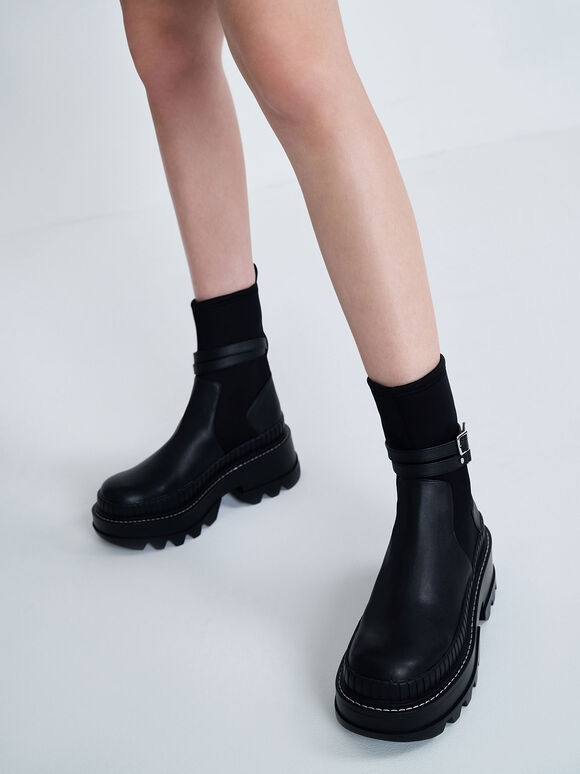 拼接厚底短靴, 黑色, hi-res