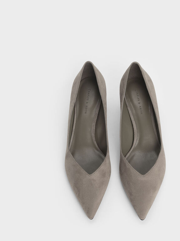 Curved Block Heel Textured Pumps, Taupe