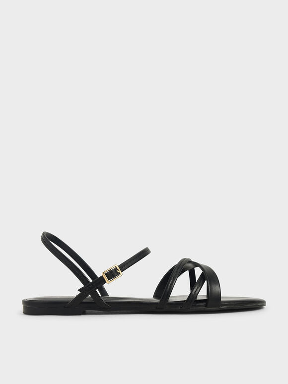 Criss-Cross Ankle Strap Flats, Black, hi-res