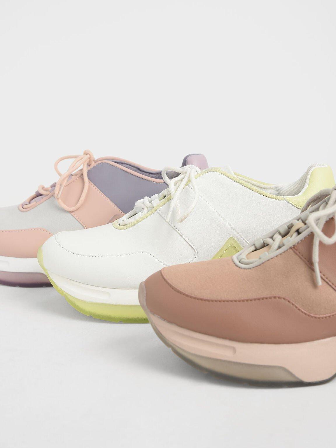 綁帶厚底球鞋, 白色, hi-res
