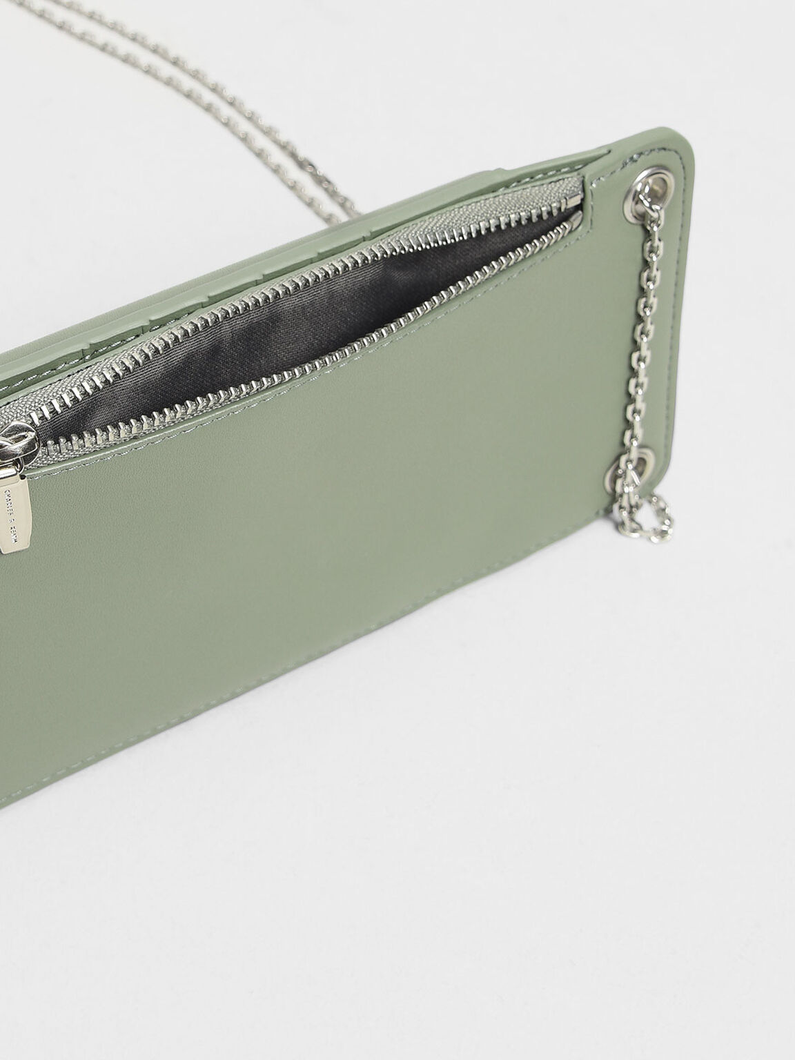 Eyelet Detail Pouch, Sage Green, hi-res