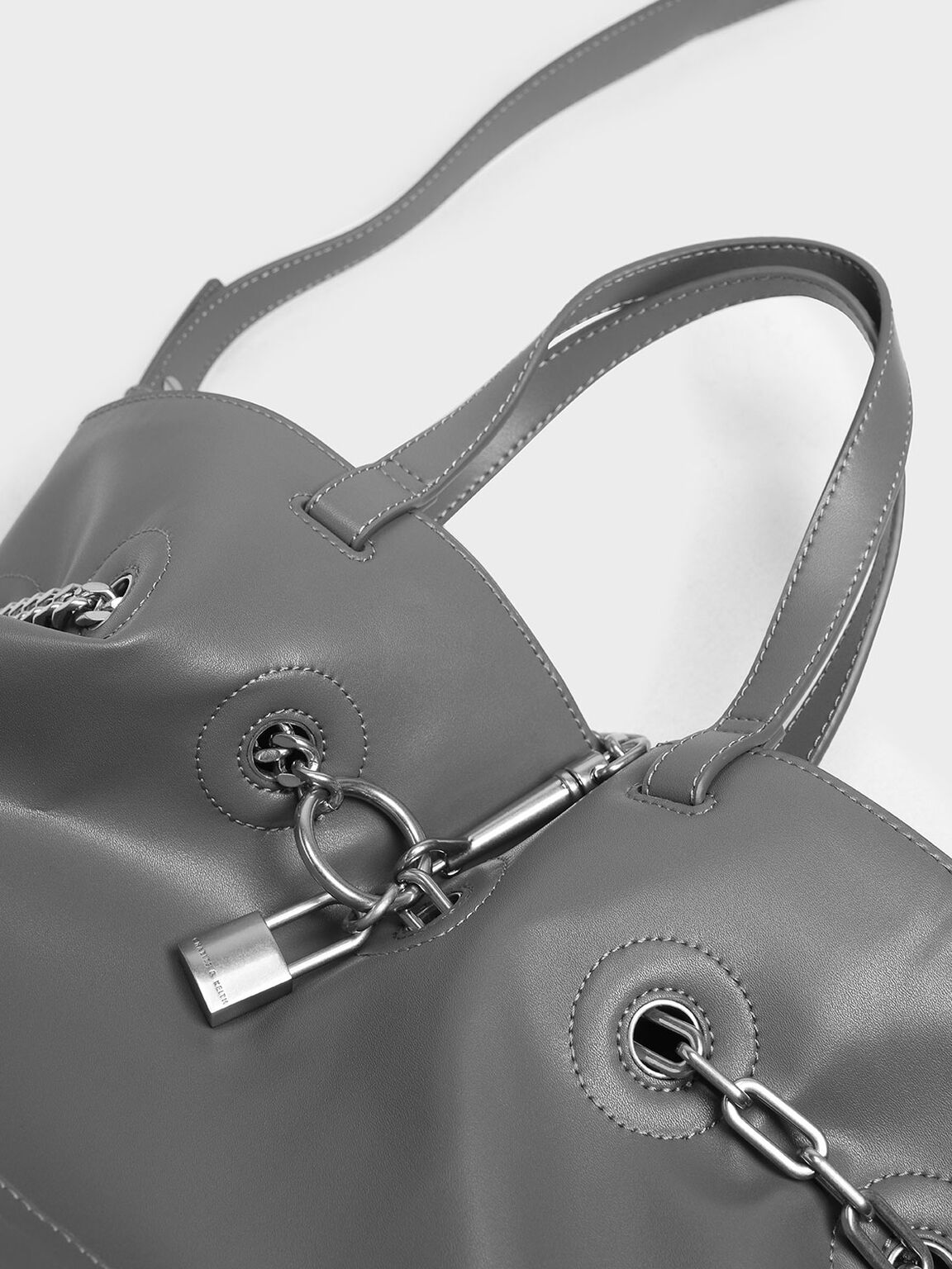 Padlock Tote Bag, Grey, hi-res