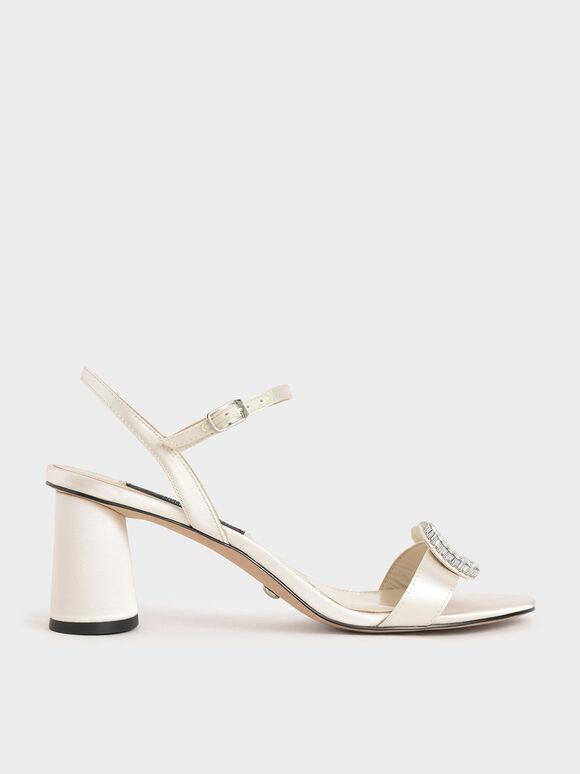 Wedding Collection: Satin Embellished Heeled Sandals, White, hi-res