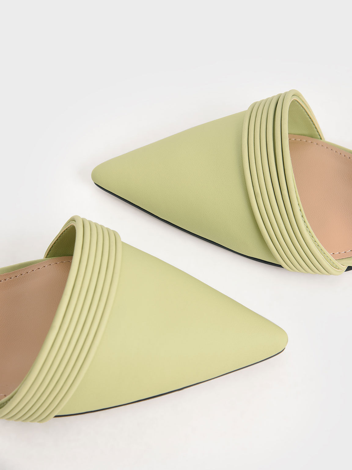 Leather Rope Detail Pumps, Green, hi-res