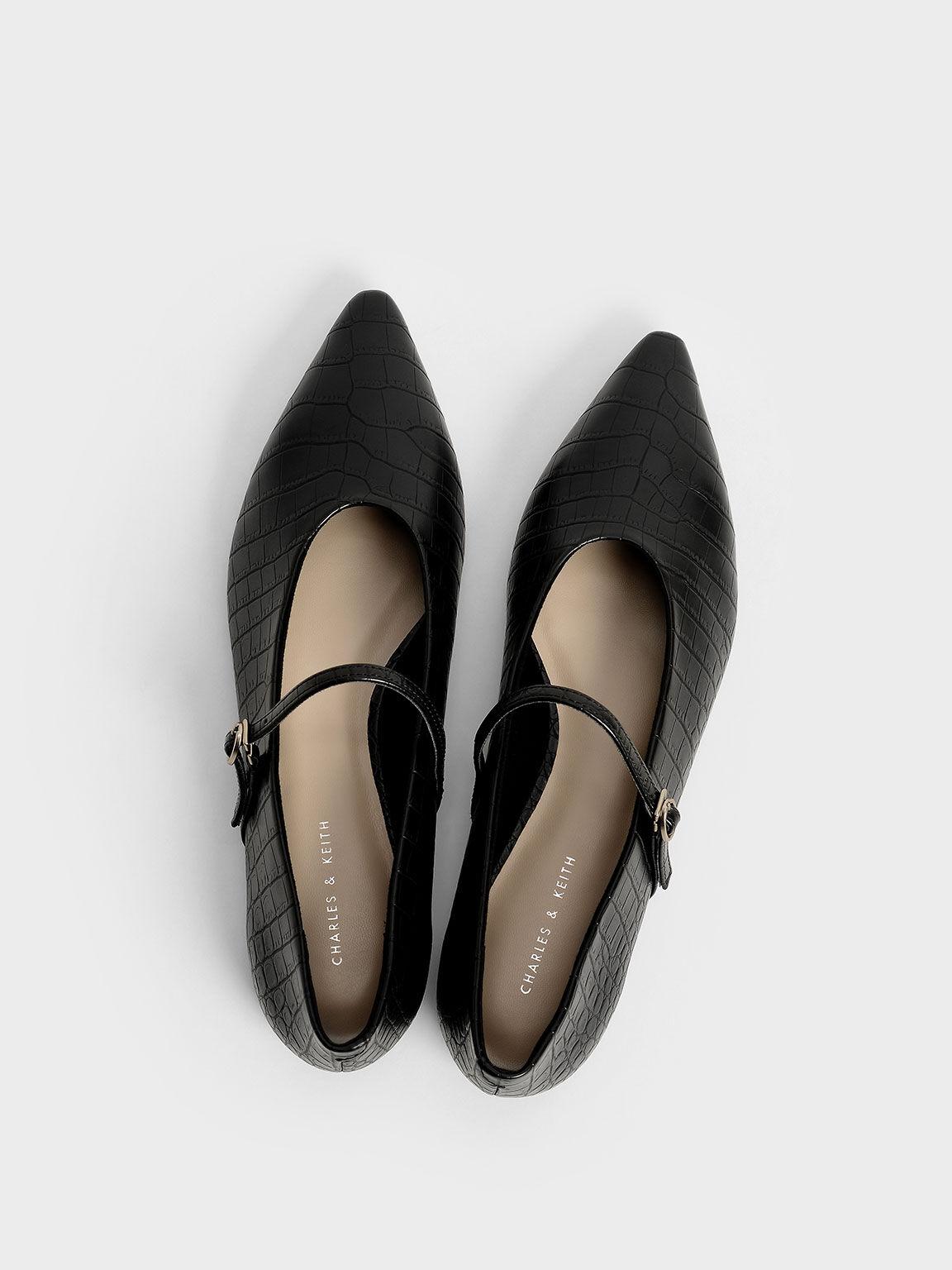 Croc-Effect Mary Jane Flats, Animal Print Black, hi-res