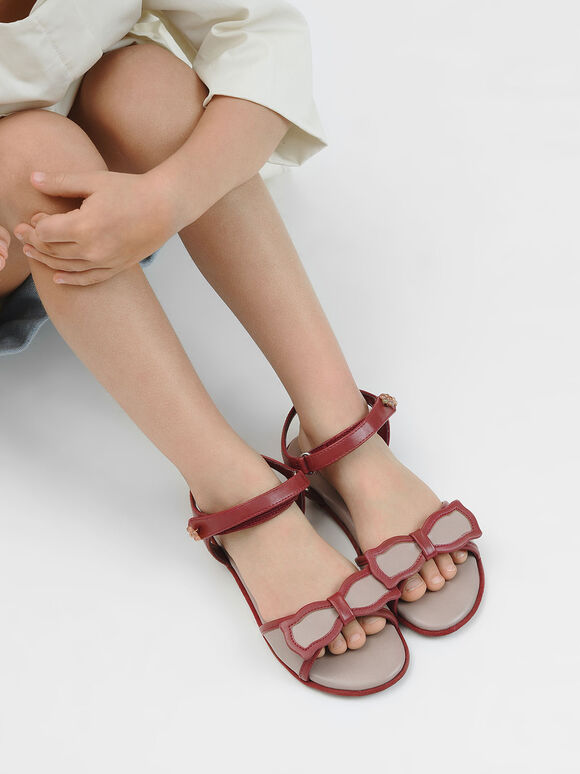 Girls' Bow Detail Open Toe Sandals, Brick, hi-res