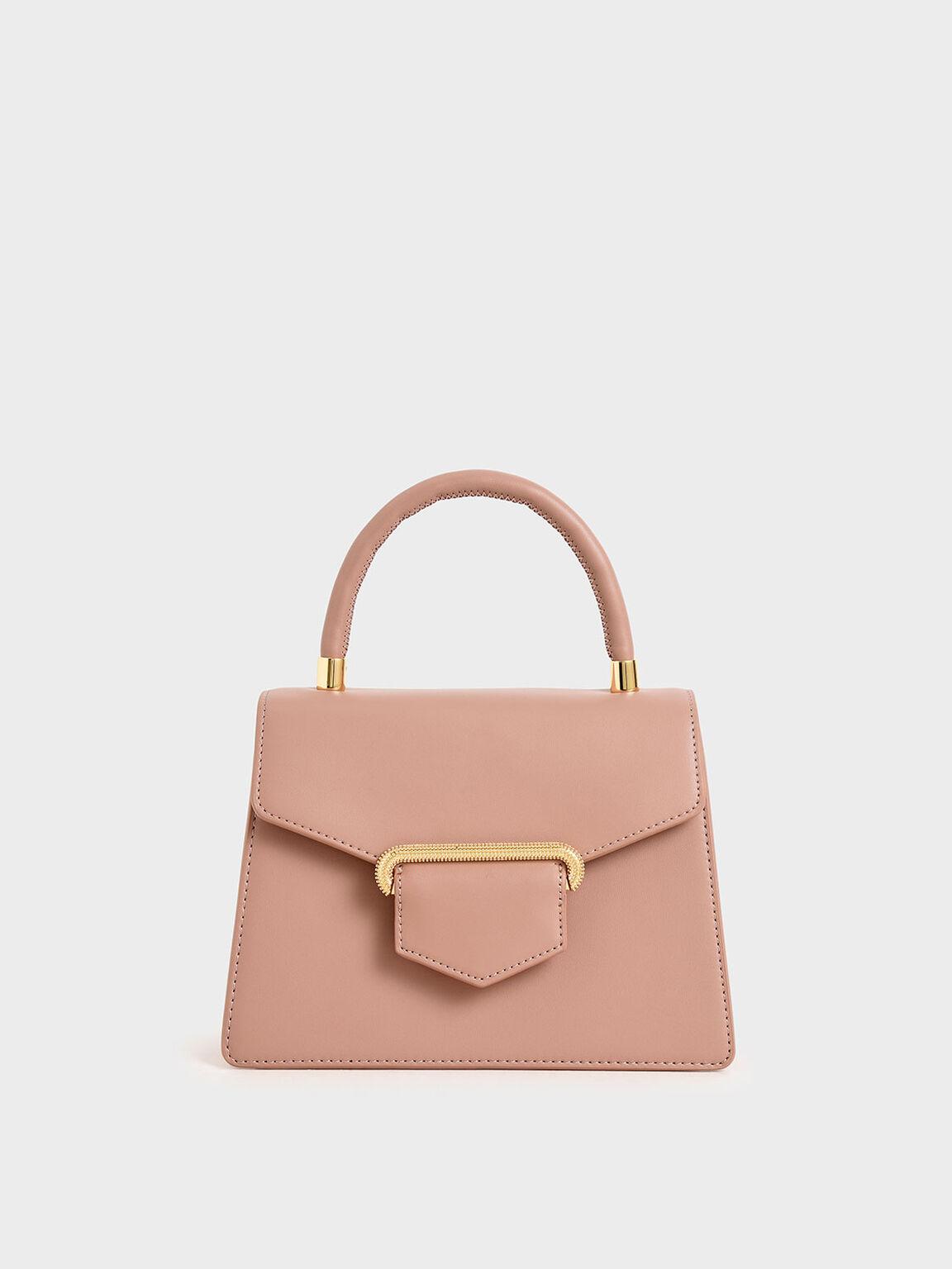 Leather Metallic Accent Handbag, Blush, hi-res