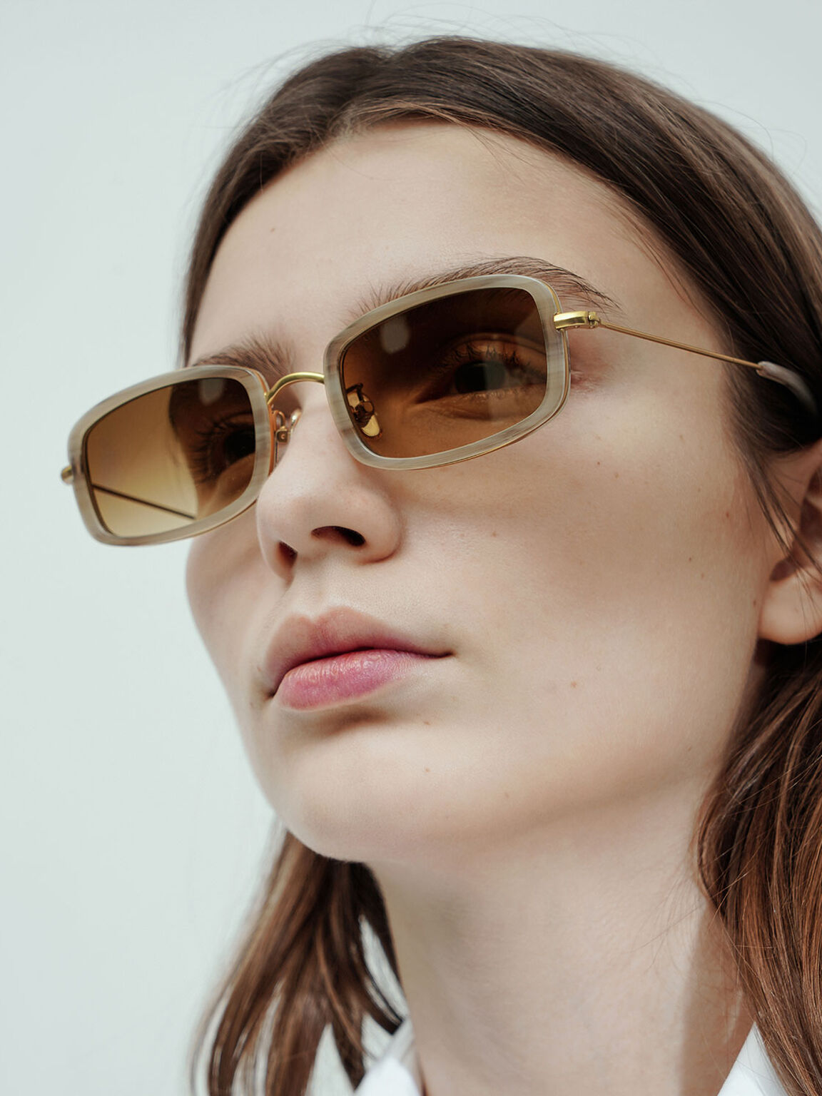 Rectangle Frame Acetate Sunglasses, Cream, hi-res