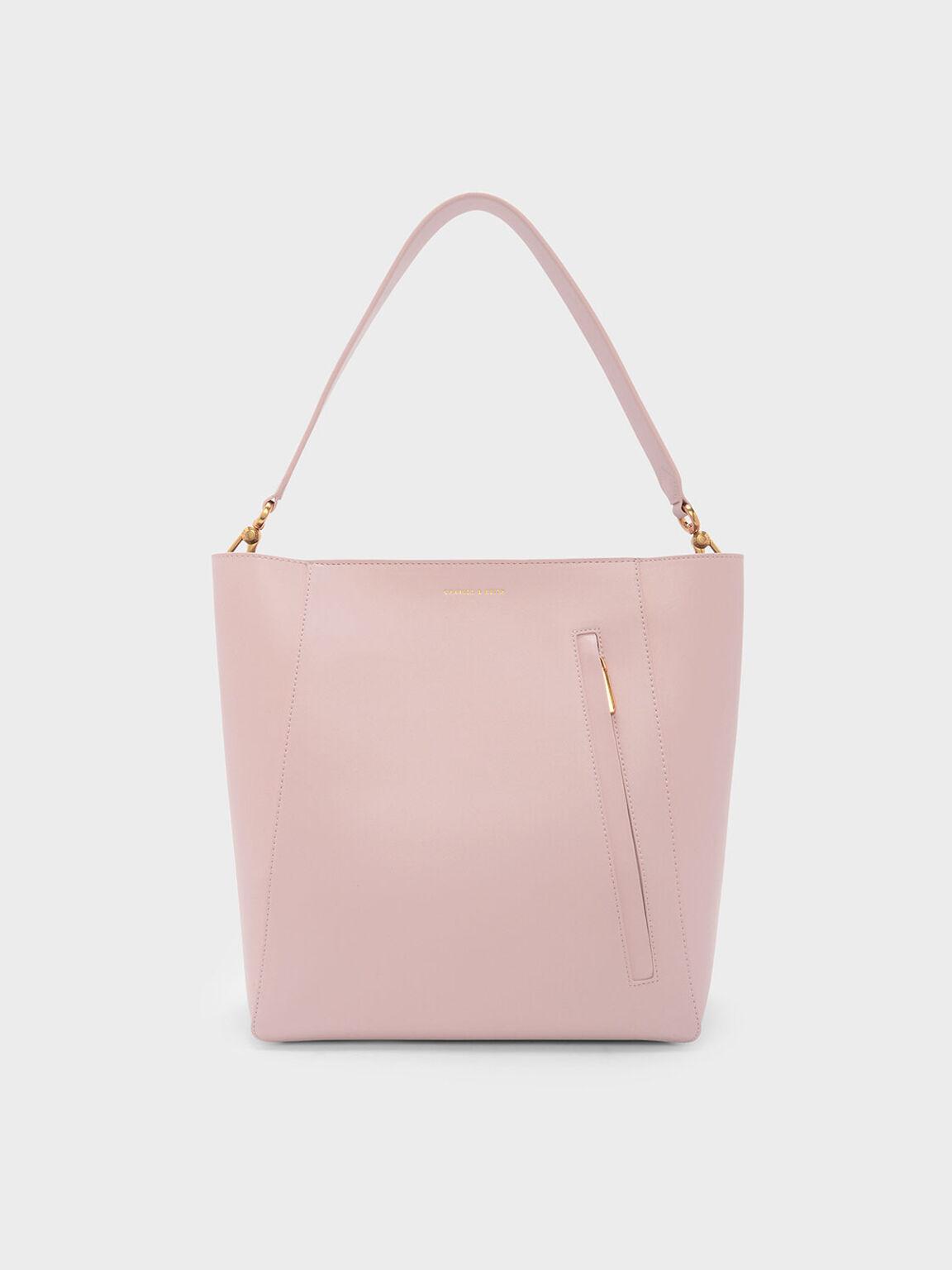 拉鍊式托特包, 嫩粉色, hi-res