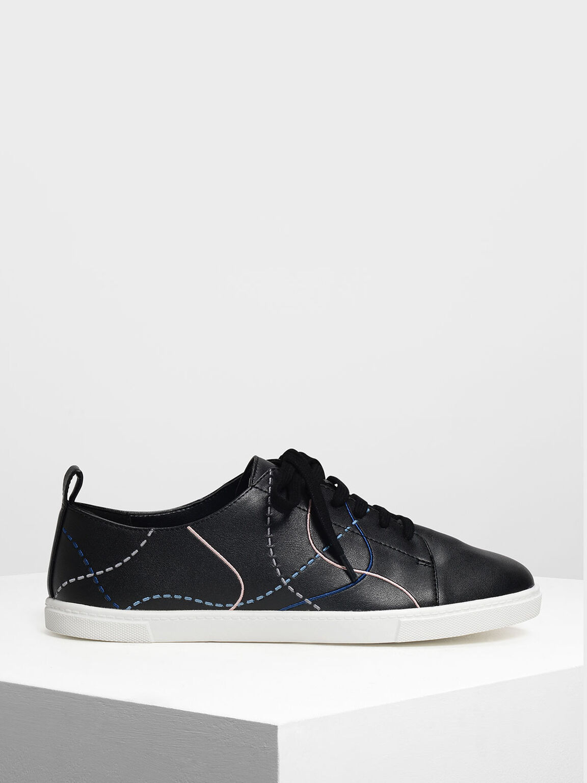 Line Detail Sneakers, Black, hi-res