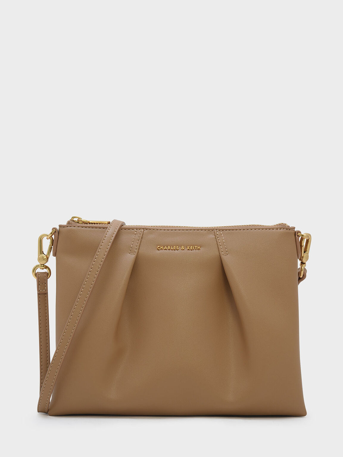 Top Zip Sling Bag, Beige, hi-res