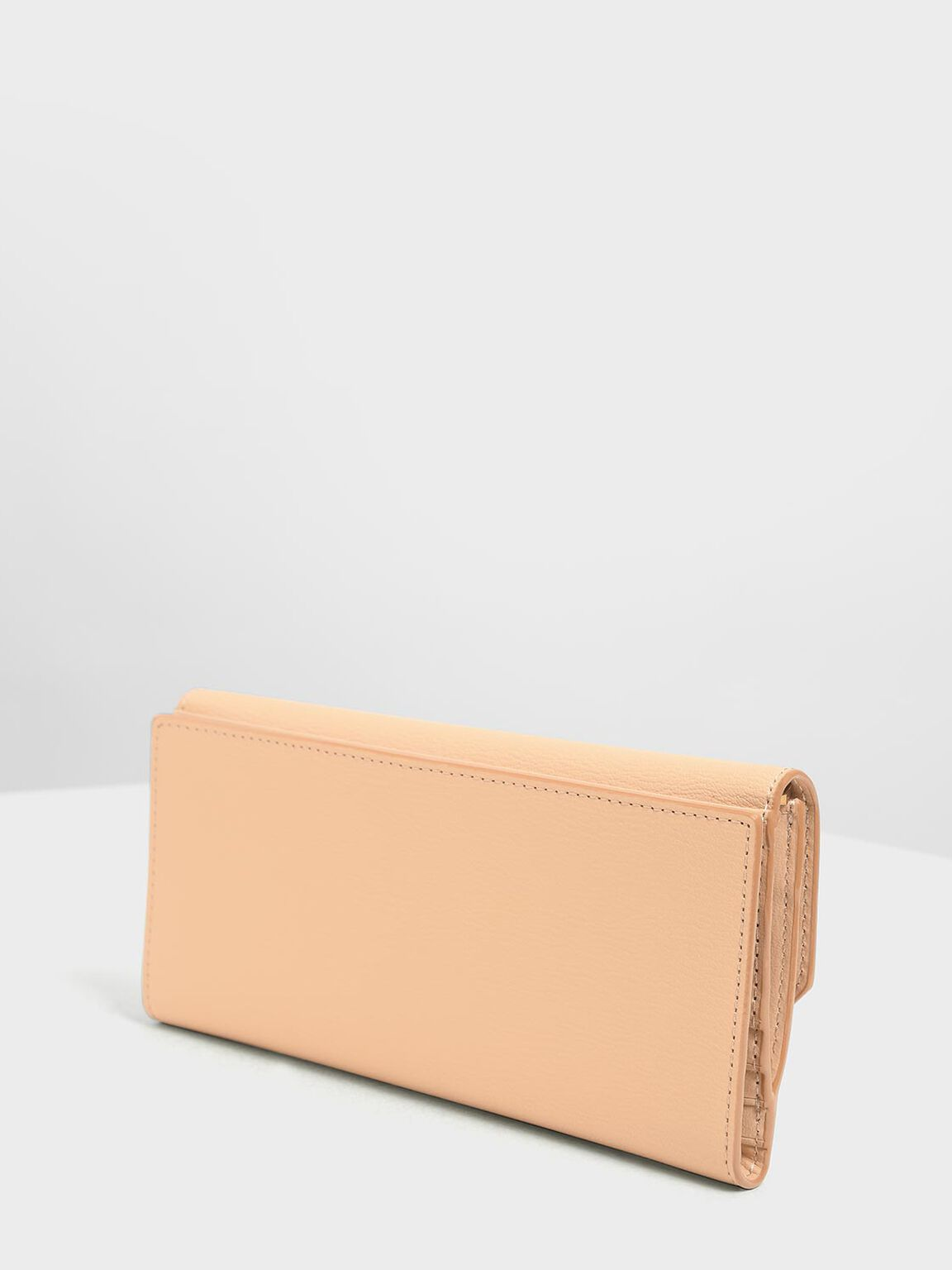 Metal Rim Long Wallet, Beige, hi-res