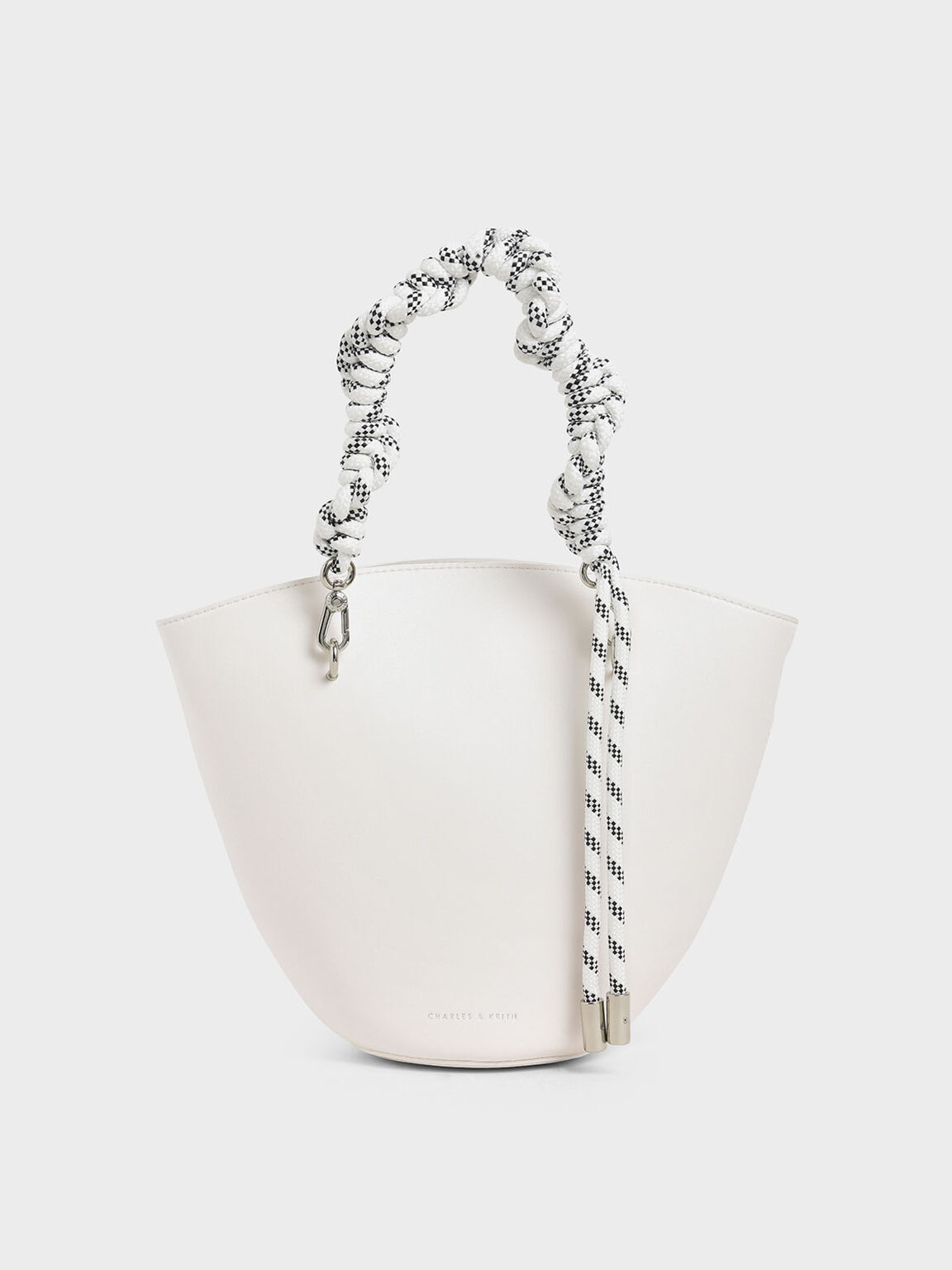 繩結手提包, 白色, hi-res