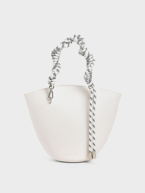 Rope Handle Trapeze Tote, White, hi-res