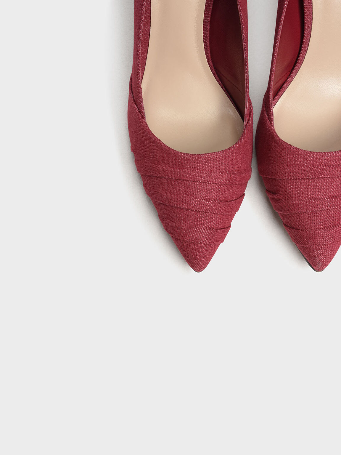Ruched Pointed Denim Pumps, Red, hi-res