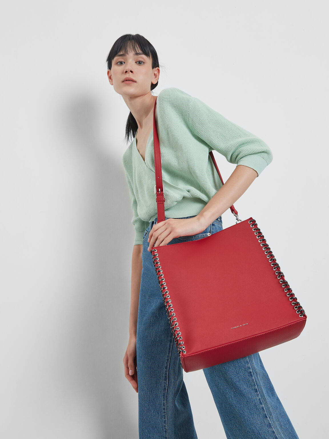 Whipstitch Trim Tote Bag, Red, hi-res