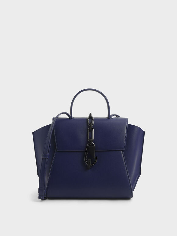 Chain-Link Trapeze Bag, Dark Blue, hi-res