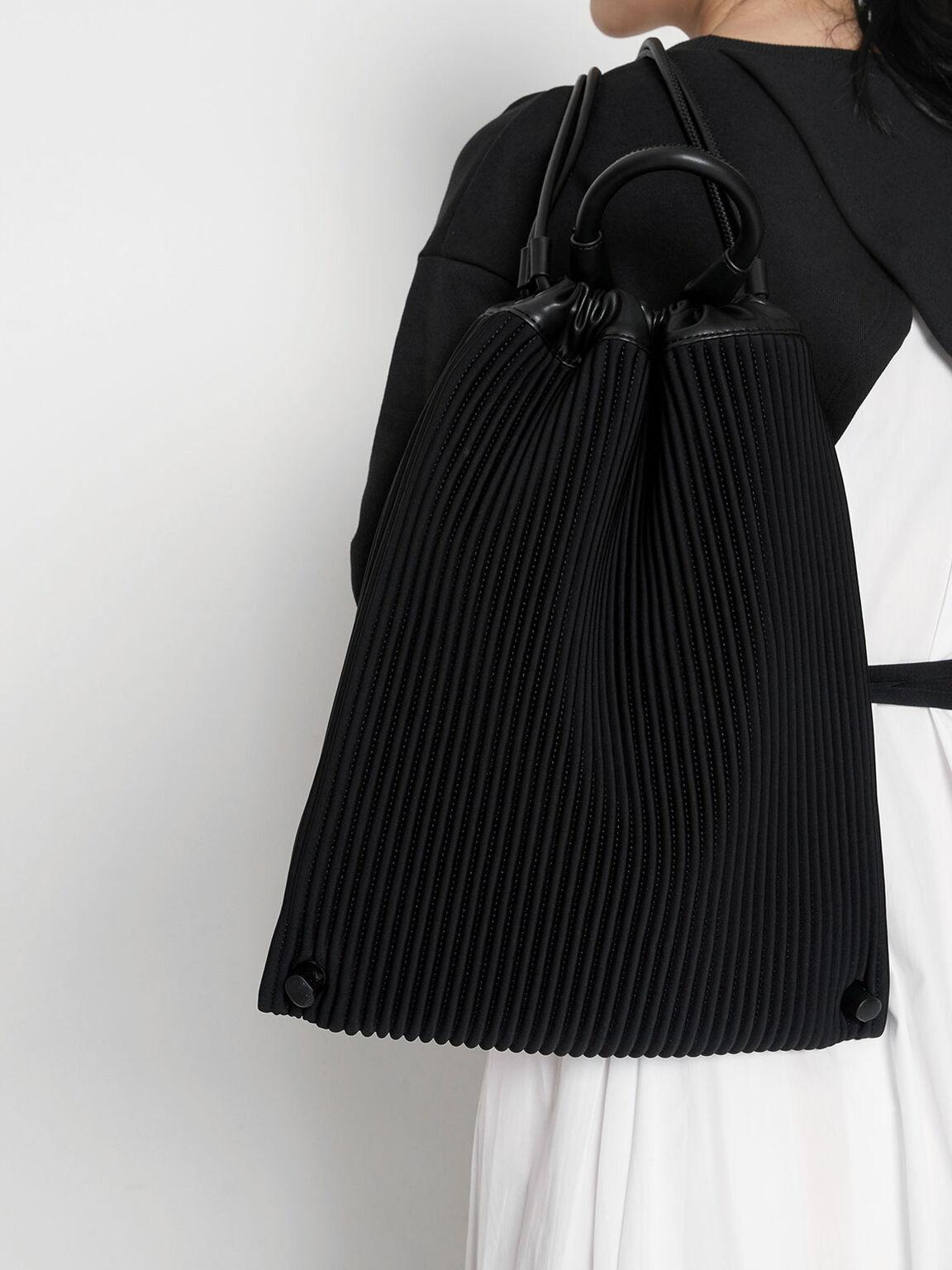 Large Neoprene Drawstring Backpack, Black, hi-res