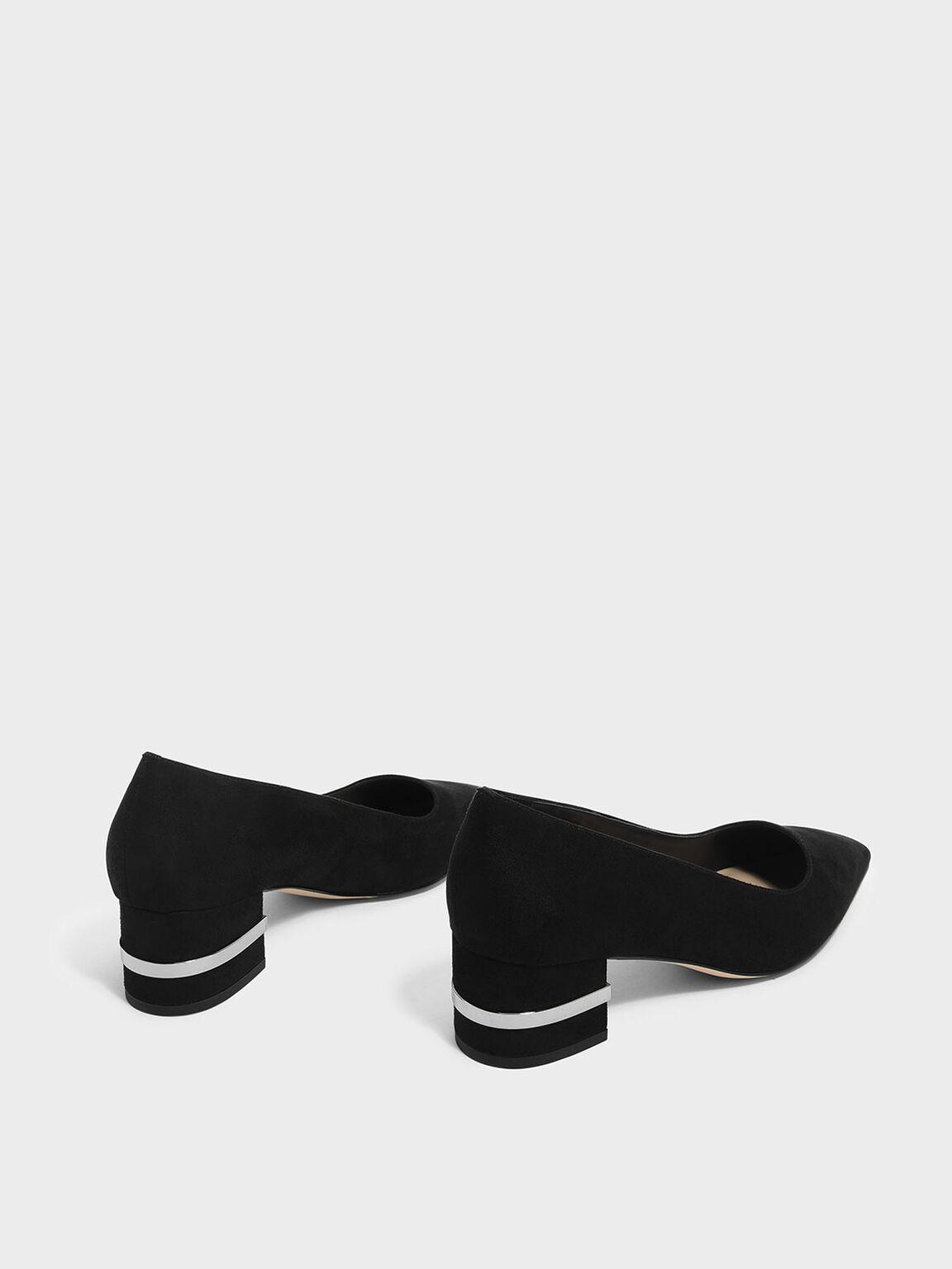Metallic Accent Heel Pumps, Black, hi-res