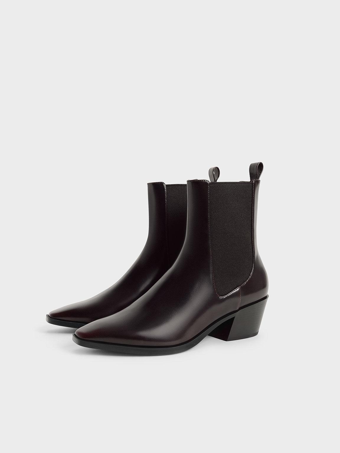 Slanted Heel Chelsea Boots, Burgundy, hi-res
