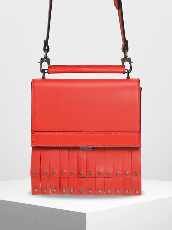 Fringe Trim Top Handle Bag, Red, hi-res