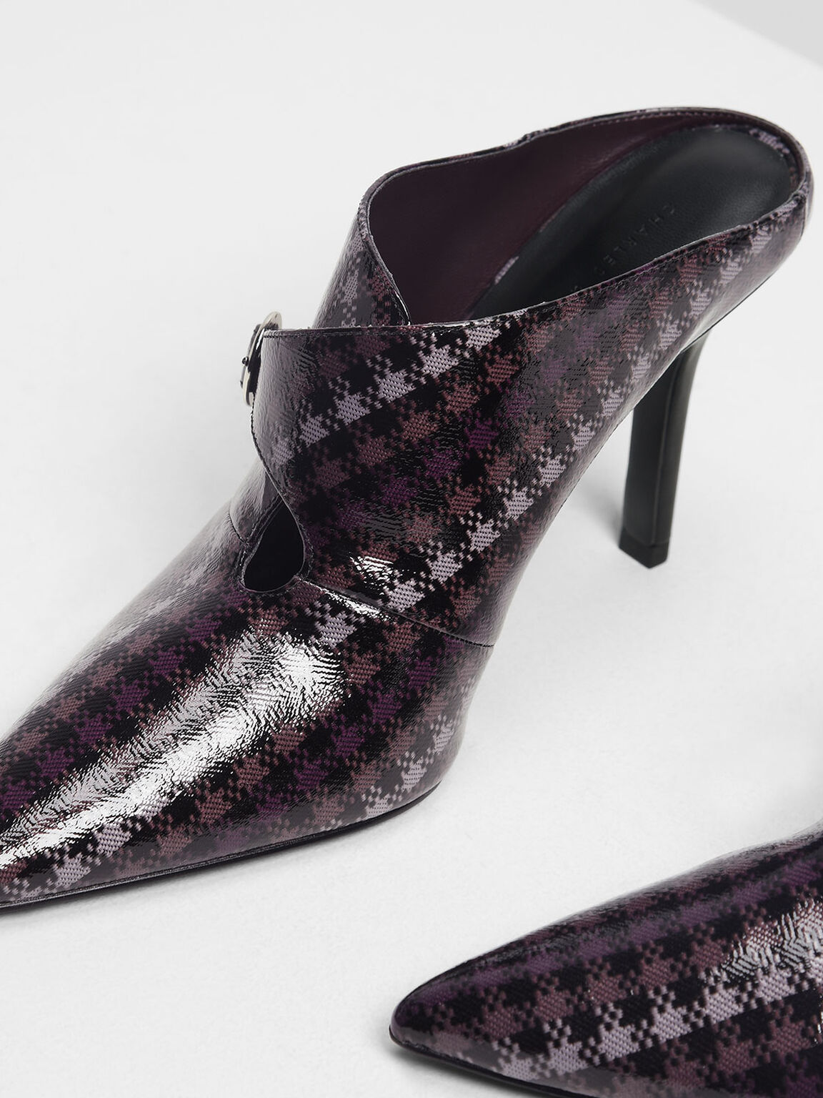Houndstooth Print Stiletto Heel Mules, Purple, hi-res