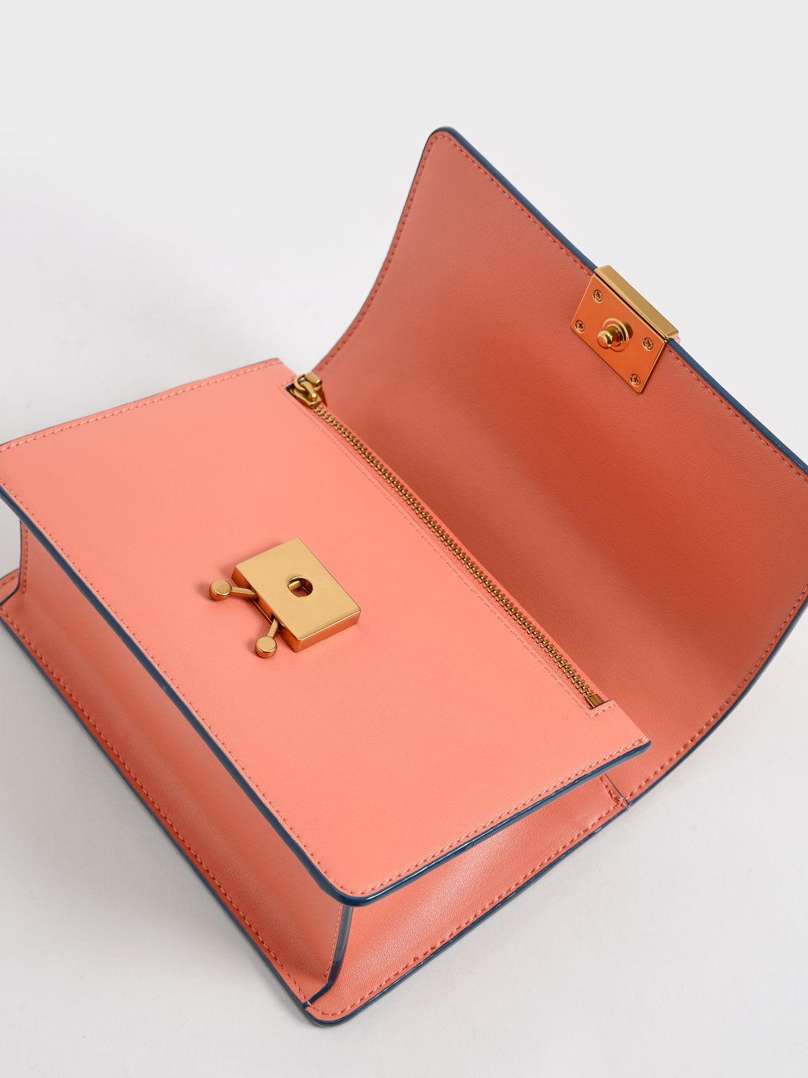 Twist Handle Shoulder Bag, Orange, hi-res