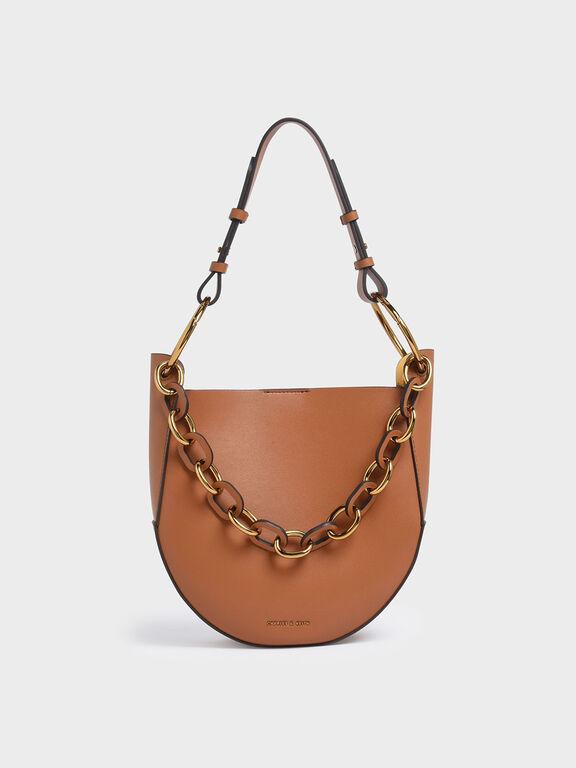 Chunky Chain Link Hobo Bag, Tan, hi-res
